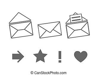 set, berichten, iconen