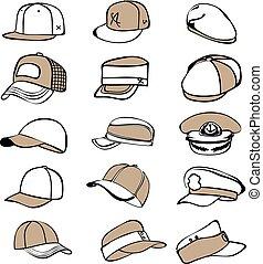 set, berretto, isolato, vettore, baseball, rap, cappello bianco, icona