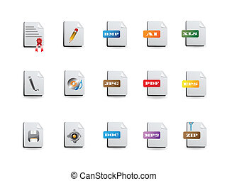 set, bestand, iconen