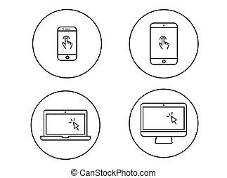 Set, beweeglijk, draagbare computer,  tablet,  Cursor,  Vector,  Computer, vinger, lijn, gebaar, pictogram