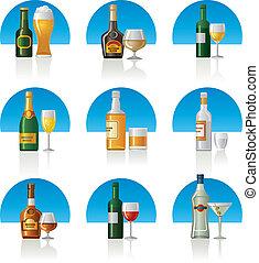 set, bibite, alcool, icona