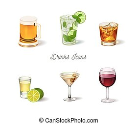 set, bibite, alcool, icone