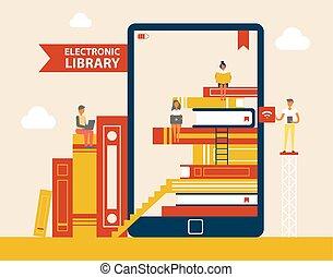 set, biblioteca, vettore, libri, illustrazione, elettronico