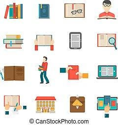 set, bibliotheek, iconen