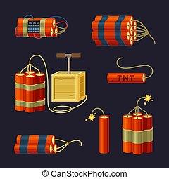 set., bicforod, preparado, palos, detonators, detonar, vector., abrasador, retro, dinamita, peligro, cable, caricatura, bomba, explosivos, rojo, tnt, lío, cord., dispositivo, mano, avisador, fusible, trabajando