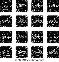 set, bicicletta, icone, vettore, grunge, tipi