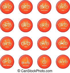 set, bicicletta, icone, vettore, tipi, rosso