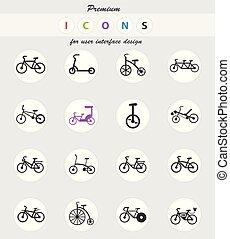 set, bicicletta, tipi, icona