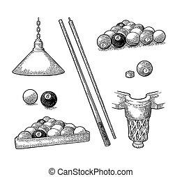 Set billiard. Stick, balls, chalk, pocket and lamp. Vintage ...
