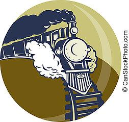 set, binnen, op, of, trein, komst, locomotief, cirkel, stoom