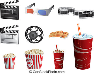 set, bioscoop, vrijstaand, symbolen, vector, witte