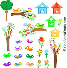 Set birds with birdhouses, trees