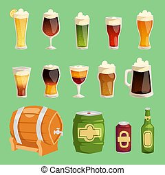 set, birra chiara, campanelle, bottiglie, alcool, isolato, beerhouse, tazza, festa, fabbrica birra, pub, scuro, vetro, illustrazione, fondo, cartone animato, beery, sbarra, beermug, su, birra, vettore, beered, barile, beerbottle, o
