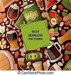 set, birra chiara, lillustration, alcoho, spuntino, modello, noci, seamless, beerhouse, birra, festa, fabbrica birra, scuro, beerbarrel, fondo, nocciola, beery, sbarra, beermug, vettore, beerbottle, fondale