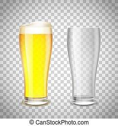 set, birra, fondo., s, vetro, trasparente, vuoto