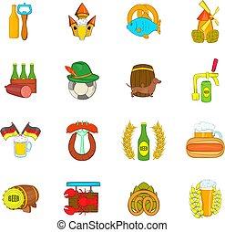 set, birra, icone, stile, cartone animato
