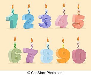 set birthday candles cartoon numbers. Vector illustration