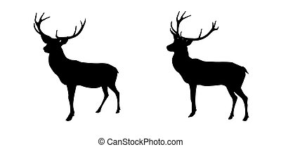 Set black and white deer with horns isolated on background.