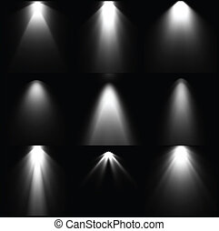 Set black and white light sources. Vector illustration. ...