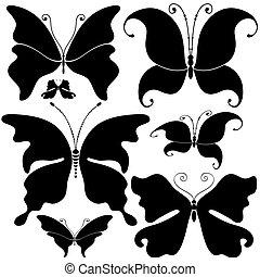 Set black butterflies