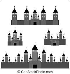 set black castle on white background. Vector