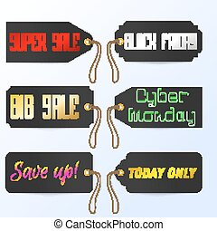 Set Black Friday Cyber Monday tagline sales tags. Vector illustration