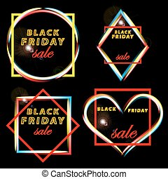 Set Black Friday sales frames of the various forms. Glowing neon effect in different shapes.