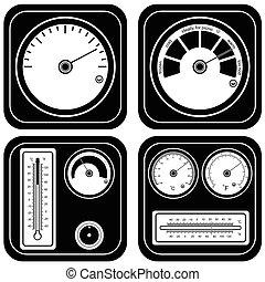 set, black , illustratie, thermometer