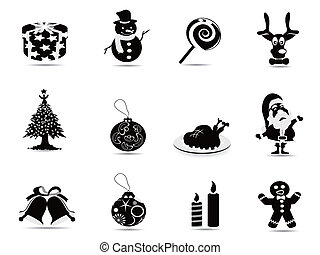 set, black , kerstmis, pictogram