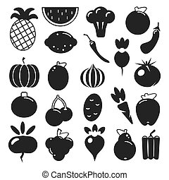 Set black silhouette various fruits and vegetables on a white background. Abstract design logo. Logotype art -