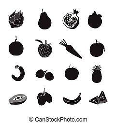 Set black silhouette various fruits