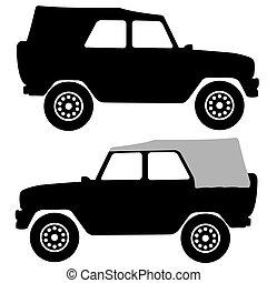 Set black silhouettes cars on white background. Vector illustration.