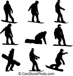 Set black silhouettes snowboarders on white background