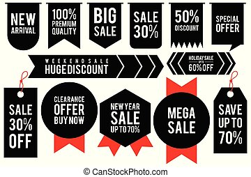 Set black sticker discount label templates with different percentages and red ribbon