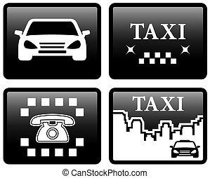 Taxi cab set stickers  Taxi cab set symbols, street orange