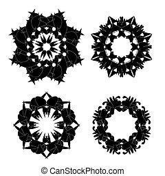 set, black , versieringen