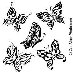 Set black white butterflies of a t