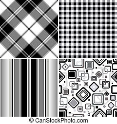 Set black-white seamless patterns