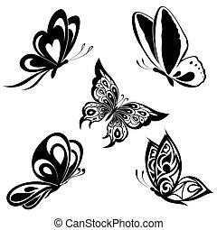 set, black , witte , vlinder, van, een, ta