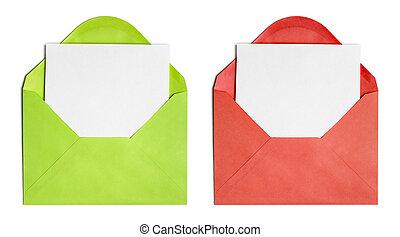 set, blad, geopend, dekking, vrijstaand, papier, enveloppen,...