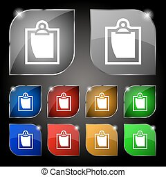 set, blad, kleurrijke, tien, teken., glare., knopen, vector, papier, pictogram