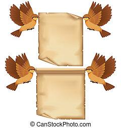 set, blad, vliegen, spotprent, papier, vogels