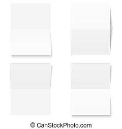 Set - blank sheet of white paper - folded