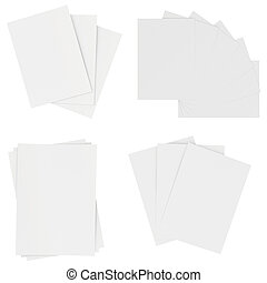 Set blank white sheets of paper isolated on background. 3d rendering.