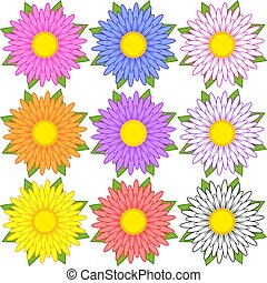 set, blauwe , paarse , sinaasappel, flowers., gele, witte , rood, roze
