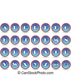 Set blue alphabet icons