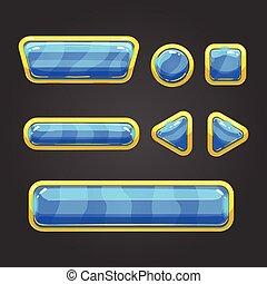 Set blue button in cartoon style