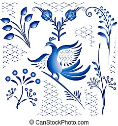 Set blue ethnic elements for design in gzhel style. Twigs, flowers and birds isolated on white background.