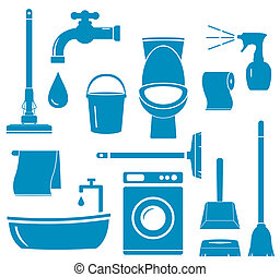 objects for home work cleaning - set blue isolated objects...