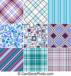 Collection classical seamless white-blue-lilas and turquoise patterns (vector)